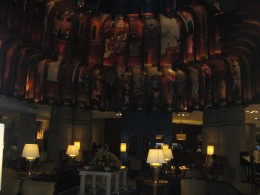 Lobby of Maurya Sherton Hotel in Delhi - excellent work of art on the walls and ceilings.