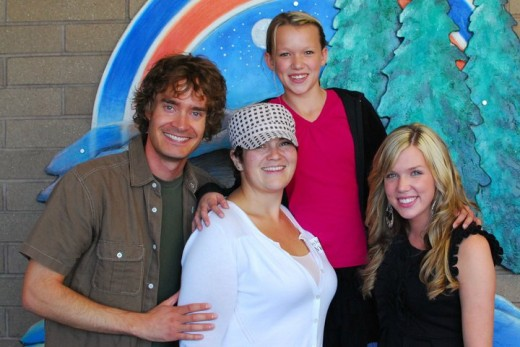 Brad & Tara, hosts of a special concert for Christina's classmates at Taylorview JHS, with Christina and Ali Christensen