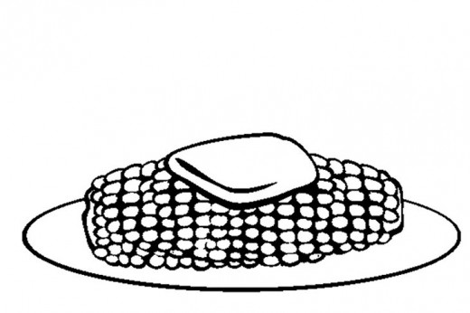 Thanksgiving Dinner Menu - Buttered Sweet Corn - Thanksgiving Holiday Dinners Free-Kids Coloring Pages and Colouring Pictures to Print