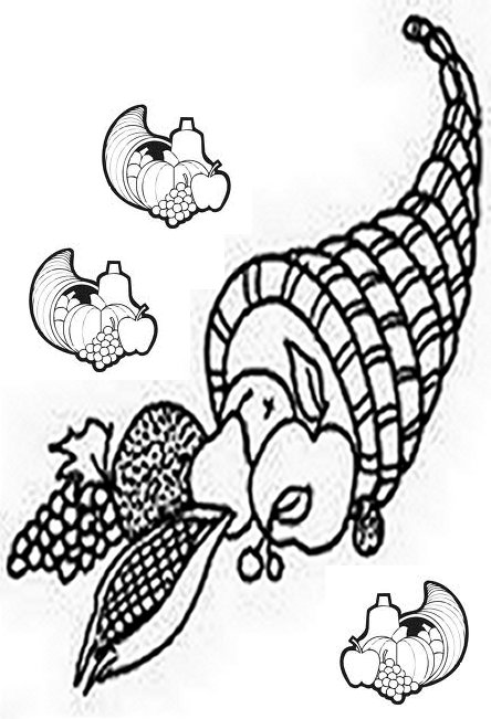 Thanksgiving Dinner Menu - Horn of Plenty - Thanksgiving Holiday Dinners Free-Kids Coloring Pages and Colouring Pictures to Print