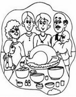 Thanksgiving Holiday Dinners Free-Kids Coloring Pages and Colouring Pictures to Print