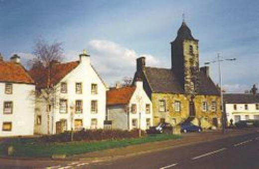 The Scottish town of Culross on the Fife coast which St. Serf is reputed to have founded.