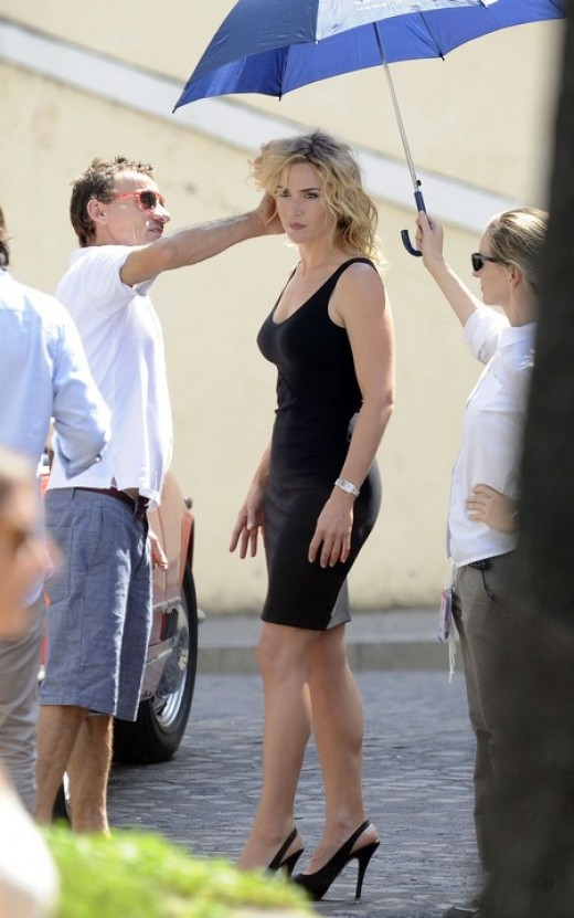 Kate Winslet films a commercial in Rome