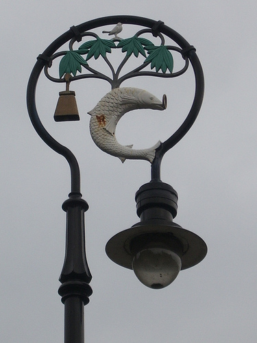 Glasgow Coat of Arms can be seen on these specially designed street lamps positioned in Cathedral Square