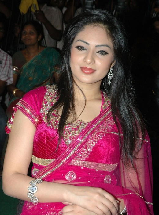 actress Nikeesha Patel in sexy pink saree