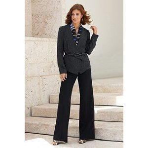 The classy looking work attire pant suit is a standby of business clothing.