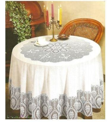 New Crochet Round Vinyl Lace Tablecloth
