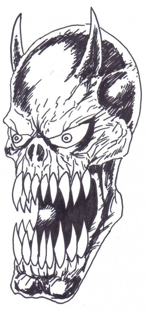 Demon sketch inked with a sharpie marker.  Wayne Tully 2010.