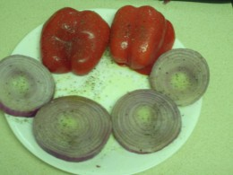 Red Bell Peppers and Red Onions Seasoned