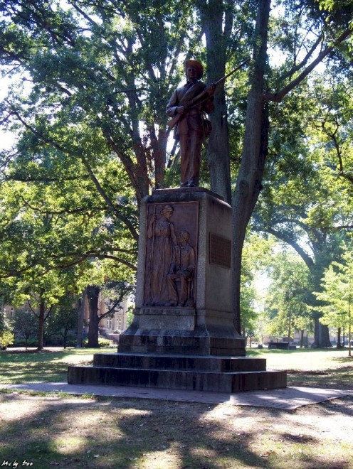 Erected in 1913 as a monument to the 321 alumni of the University who died in the Civil War and all students who joined the Confederate Army, this statue is known by students as Silent Sam.