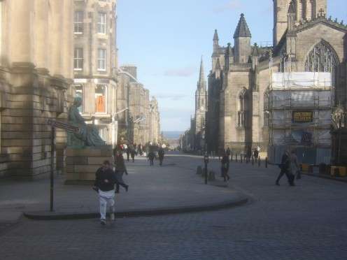 The Royal Mile - Looking Downhill from the Junction of The Lawnmarket and The High Street