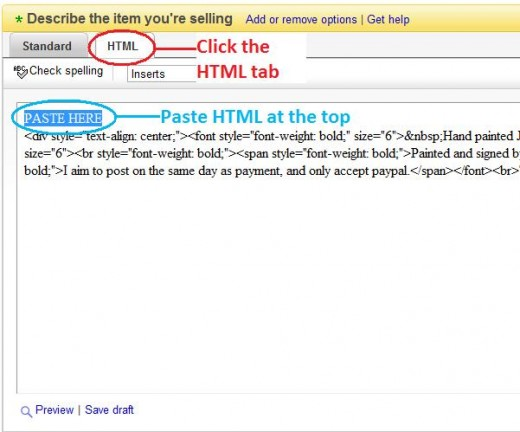 Paste your HTML code into the HTML description area of your eBay listing.