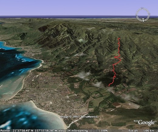 The trail follows the red line. Laie is at the bottom near the ocean.