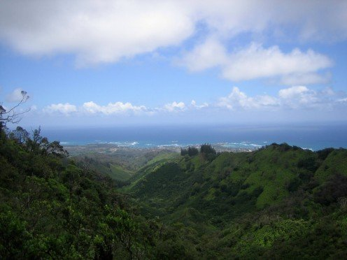 The view from the trail looking down at Laie and the ocean