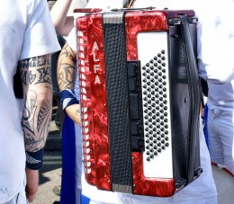 Accordian, played at Padstow May Day.     Photo by: Ennor