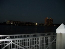 The view across the river at night.