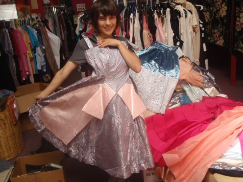 Crissy shows off some of the vintage dresses...