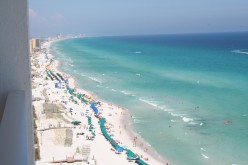 A view of the emerald coast from the tenth floor of my condo, located at Silver Shells Towers in Destin, Florida.