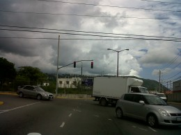 Ooops.  NE shows rain approaching.  Stoplight at Cnr of Lady Musgrave and Trafalgar Road.