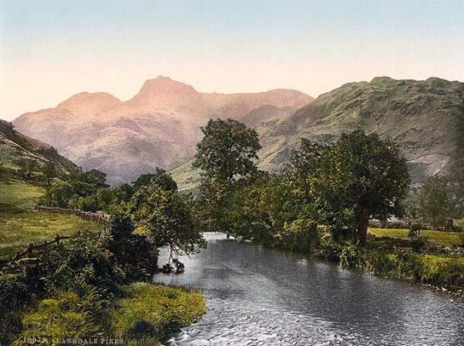 Windermere, Lake District, England. An old photochrome picture taken in 1890-1900. From www.old-picture.com