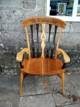 A model of the wishing chair at The Ginger Pop Shop, Corfe Castle.