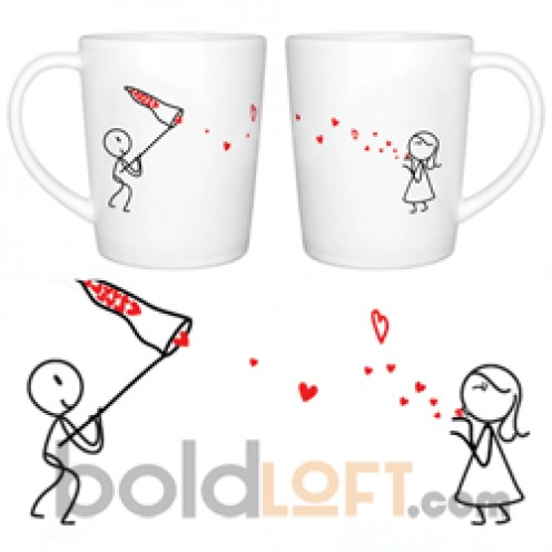"""Catch My Love"" His and Hers Coffee Mug Set"
