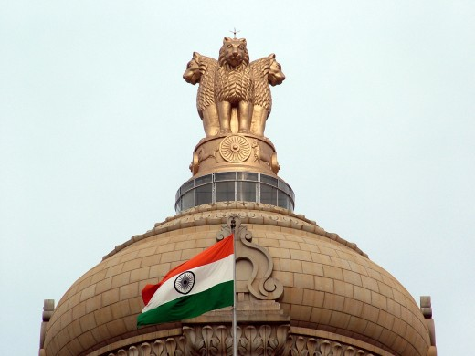 India's National Emblem and Flag Atop The Central Dome on Vidhana Soudha