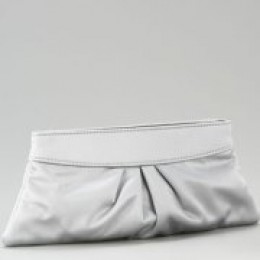Lauren Merkin Eve Silver Satin Clutch Bag