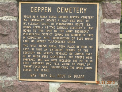 Deppen Cemetery Plaque, Gring's Mill Recreation Area, Berks County, PA