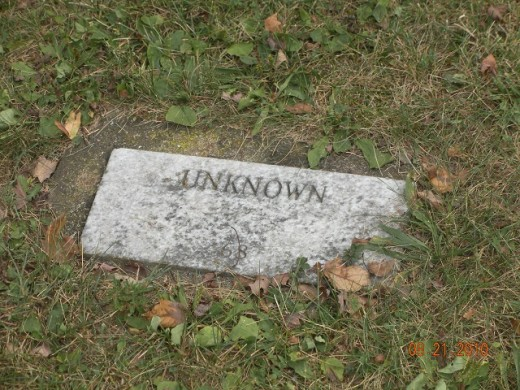 Final resting place for unknown person