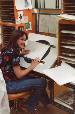 Here I am at the animation desk, first summer at Sheridan, working on my four-legged walk-across. I did a cougar, which I found out later was the toughest animal to do. I spent HOURS at the Toronto zoo obsessively studying the cougar there.