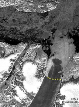 The European Space Agency photo shows a quick melt of the Petermann glacier in 2010
