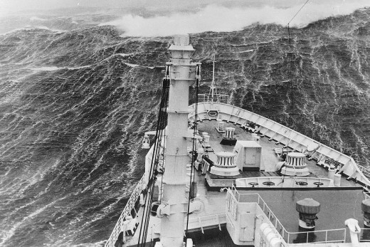 This rogue wave was photographed breaking over the bow of a ship.