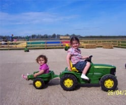Ride on childrens tractors at Pigeons Farm Park