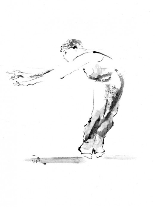 My drawing of a yoga student dancing. I used ink and chinese brush on chinese paper