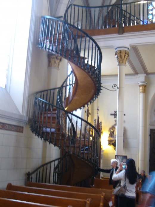 Staircase inside chapel, supposedly built by St. Joseph