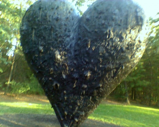 Close-up of one of the hearts by Jim Dine