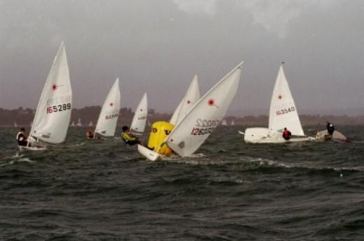 Laser sailing at the Olympics.