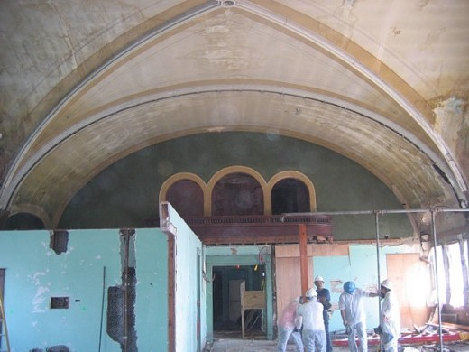 The ballroom during restoration