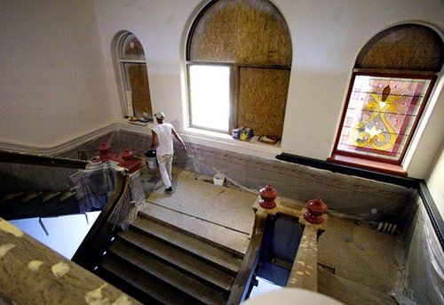 This is from the second floor, looking down to the landing of the staircase.  This was in the middle of restoration.