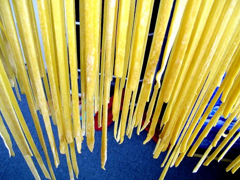 Freshly made pasta drying