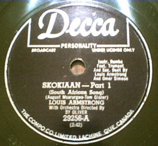 "The label of Armstrong's recording of ""Skokiaan."" Image from Wikipedia"
