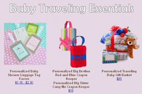 Find these travel items at www.baby-gifts-gift-baskets.com