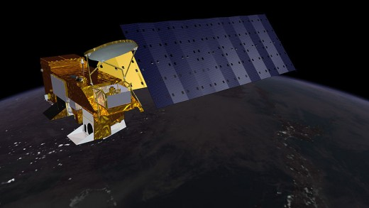 The Aqua satellite.  Image courtesy NOAA.