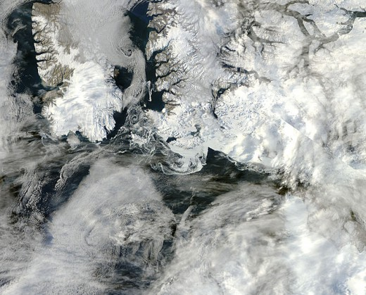 """Granular"" Ice in the Canadian Archipelago, 1 km resolution.  Image courtesy NASA."