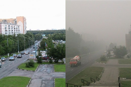 Moscow with and without the smog, summer 2010.  Image courtesy Arkytarava and Wikimedia Commons.