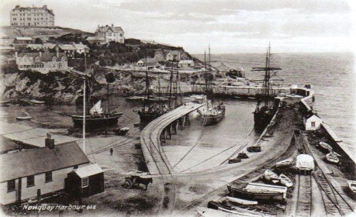 Newquay Harbour, 1904. Reproduced from an old postcard