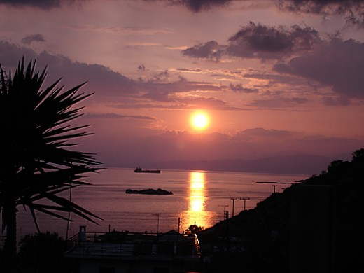 Sunset in Salamina, with credit to Markellos