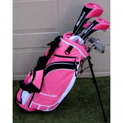 Ladies Complete Golf Clubs Set 2011 Model Drivers, Hybrid, Irons, Putter Bag Pink Color