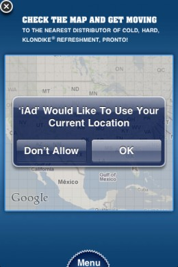 Using the Map Feature on the Klondike iAd